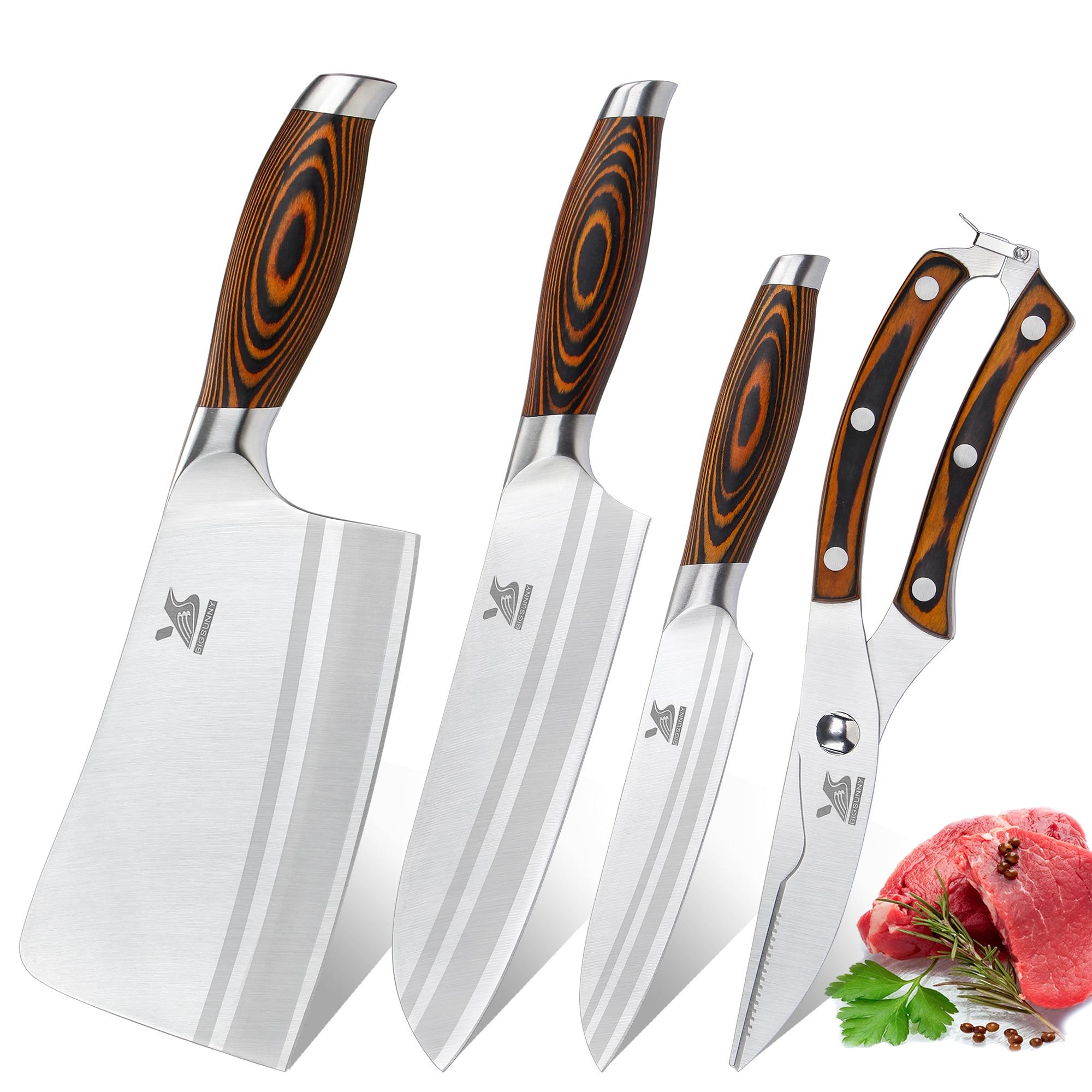 BIGSUNNY 4 Pcs Kitchen Knife Set 7