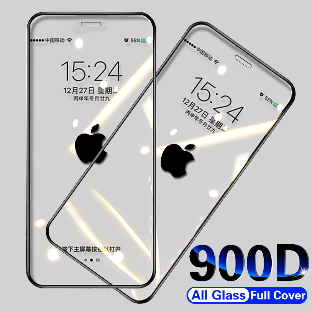 900D Curved Full Cover Tempered Glass on the For iPhone X XS Max XR 11 Pro Screen Protector Glass For iPhone 7 8 6 6s Plus Film title=