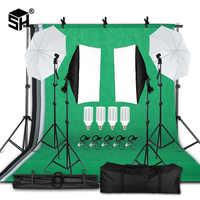 Professionelle Fotografie Beleuchtung Ausrüstung Kit mit Softbox Weiche Dach hintergrund stand Kulissen Glühbirnen Foto Studio