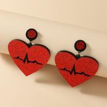 Новые Модные Акриловые серьги капельки с красным сердцем для