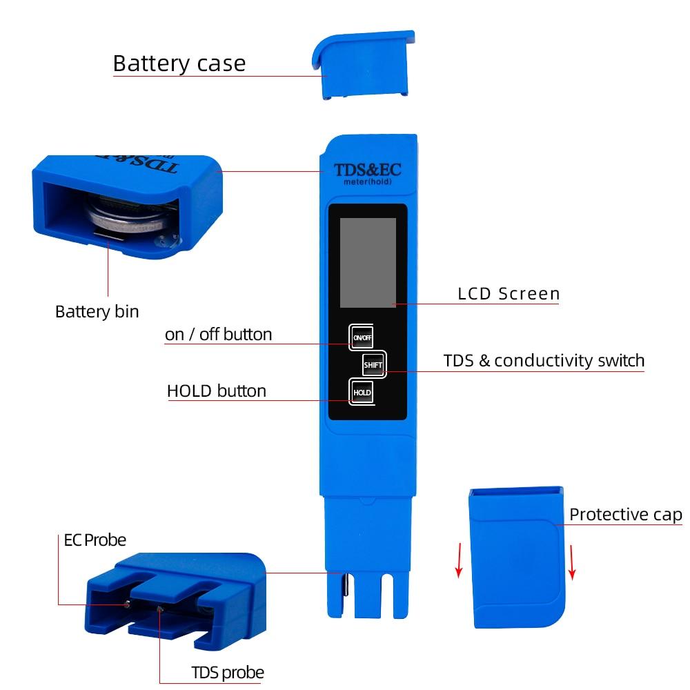 Nový TDS EC Měřič teploty Tester pero 3 In1 Funkce Vodivost - Měřicí přístroje - Fotografie 3