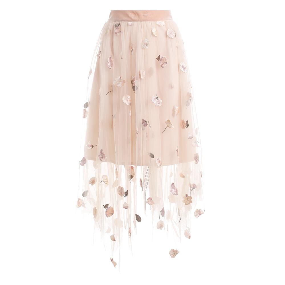New  Female Autumn Outfit Nets Yarn Bust Skirt Of Tall Waist Embroidery Skirt Temperament Flower Design
