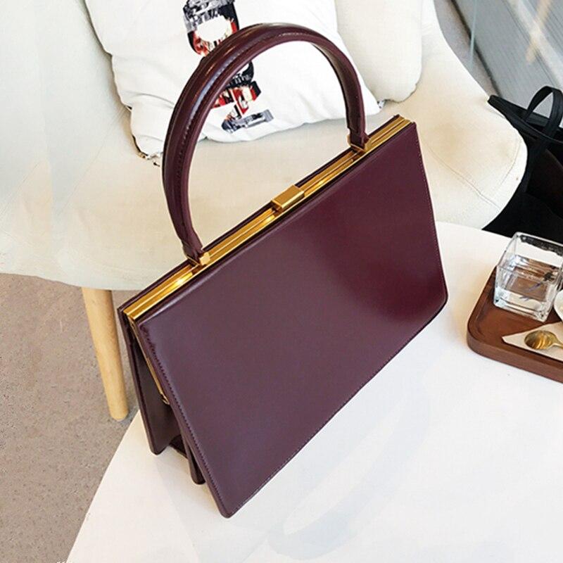 Burminsa Vintage Clasp Women Handbags Medium Metal Frame Design High Quality Female Tote Bags Spring 2020 Red Black Box Packing