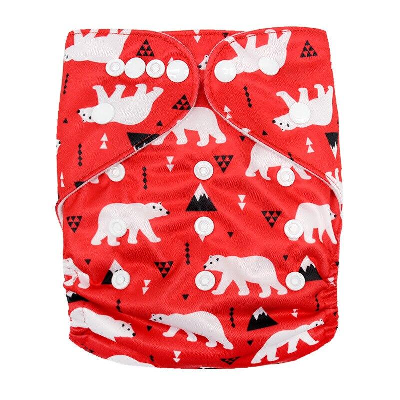 Детские моющиеся многоразовые подгузники из настоящей ткани с карманом, подгузники, чехлы для подгузников, костюмы для новорожденных и горшков, один размер, подгузники с героями мультфильмов - Цвет: Polar Bear