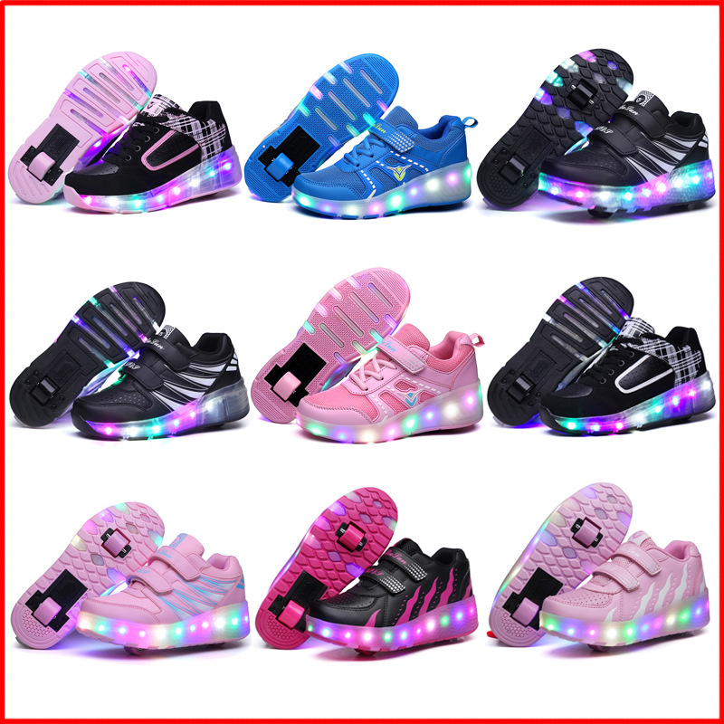 2021 New Lights Up Glowing Jazzy Junior Kids Shoes Children LED Roller Skate Shoes With One/Two Wheels Adult Boys Girls Sneakers