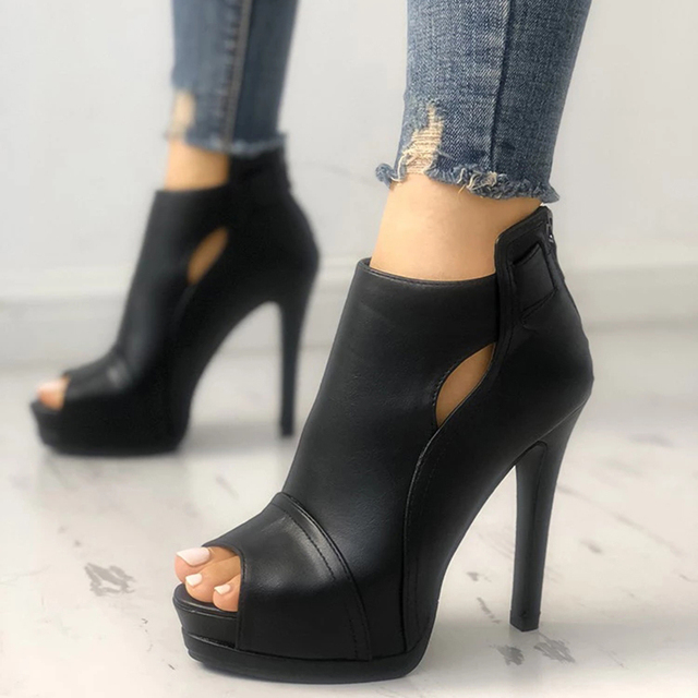 New Women summer Thin High Heels 11cm Zipper Peep Toe gladiator pumps office sandals party shoes 3