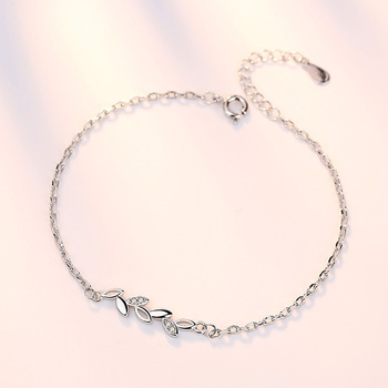 Lucky With Tree Leaves Silver Jewelry Ladies Bracelets Japanese and Korean Version Simple Jewelry Accessories Couple Bracelets 3