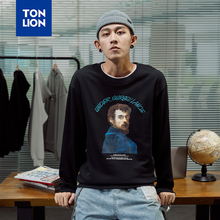 TONLION Mens Sweatshirts No Hood Chest Character Print Hoodies Man Spring Fashion Tops Loose Plus Size Long Sleeve Pullovers New