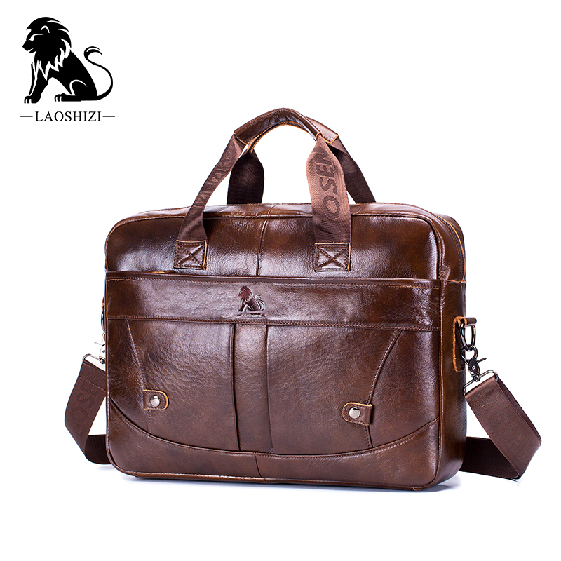 Genuine Leather Vintage Men's Business Briefcase Fashion Messenger Bags For Man Shoulder Bag Postman Male Handbags Big Computer