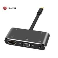 USB C к HDMI VGA адаптер usb концентратор usb 3,1 к PD/HD 4 к/VGA/аудио/usb3.0 Тип c vga 5in1 мультипорт для ноутбука Планшета Телефона Macbook