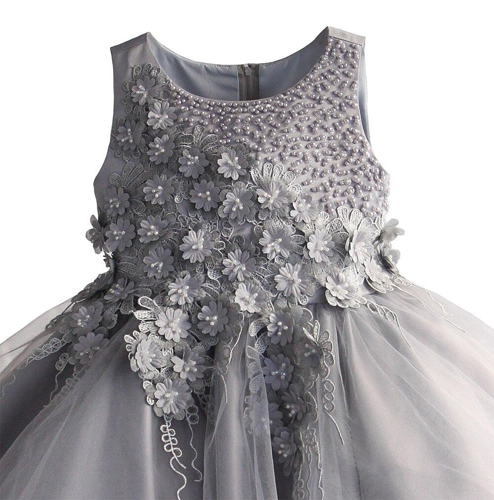 Zoeflower Pearl Panels Children Skirt Pure Cotton Wedding Dress Princess Dress Gray