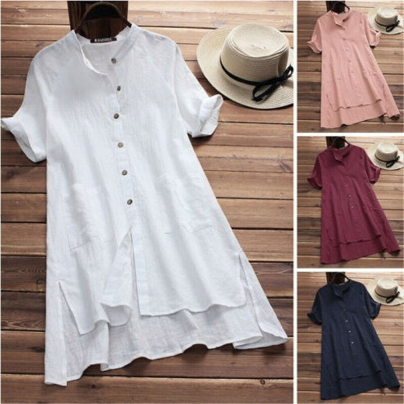 Hirigin, женские свободные рубашки, платье на пуговицах, модные летние повседневные мешковатые мини-платья с коротким рукавом, хлопковые льнян...