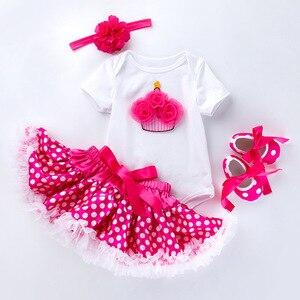 Noworodek ubrania dla dzieci garnitur 0-2 lata 4 szt. Urodziny dziecka zestaw dziewczyna letnia sukienka dla dzieci księżniczka sukienka urodziny dziewczyna odzież