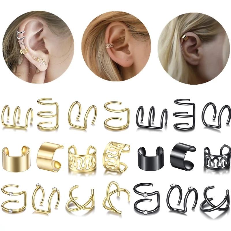 12 unidades/juego de pendientes de Clip para oreja para mujer, a la moda de Color dorado, aretes de Clip de hoja para trepadores sin Piercing, accesorios de aretes de cartílago falso 2020