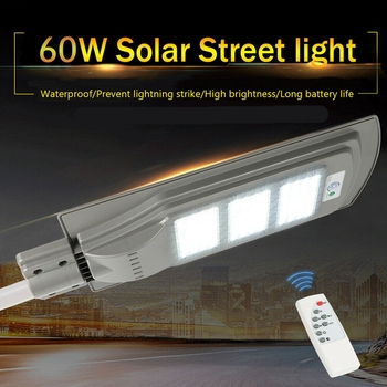 60W Solar Street Light With Remote Controller and Light Arm Waterproof Outdoor Garden Pathway Parking Lot Light