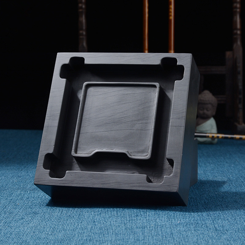 Square Chinese Inkstone Calligraphy Ink stone student Ink Well Inkwell Grinding Made of Natural stone Ink-well