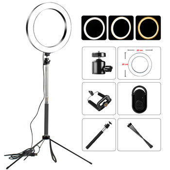 Video Light Dimmable LED Selfie Ring Light USB ring lamp Photography Light with Phone Holder 1M tripod stand for Makeup Youtube