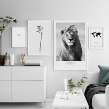 Nordic Simple African Lion Lotus Canvas Painting Personalized Animal Print Flower Posters Living Room Bedroom Painting Pictures