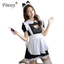 Classic Black Cafe Maid Cosplay Costume Lolita Cute Dress Restaurant Waiter Uniform For Women Including Bow Headdress