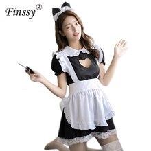 קלאסי שחור קפה Maid Cosplay תלבושות לוליטה חמוד שמלת מסעדת מלצר אחיד לנשים כולל קשת כיסוי ראש