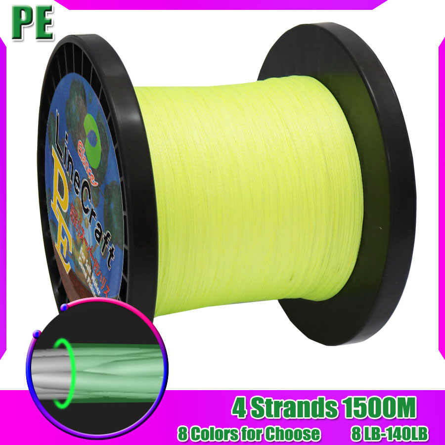 PE Braided Fishing Line 4 Strands 1500m Superline Abrasion Resistant Braided Lines Super Strong High Performance PE Fishi Lines