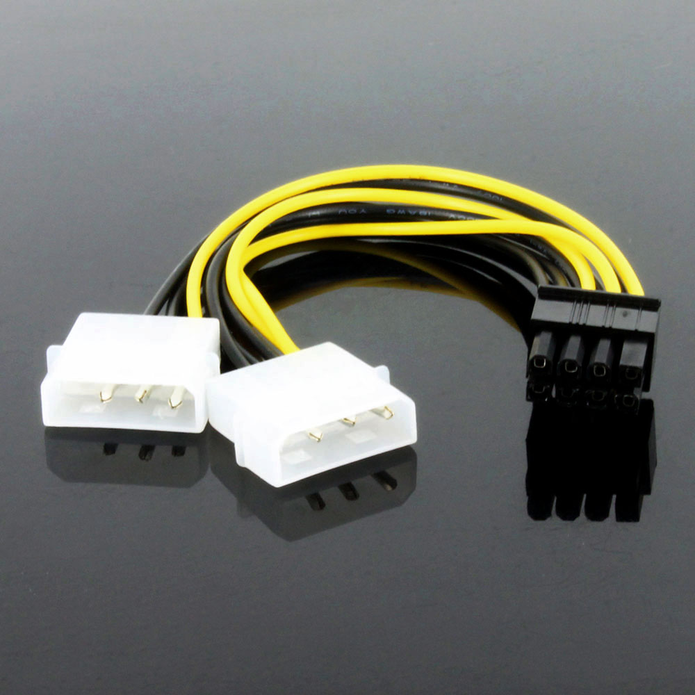 OULLX 8Pin Male To Dual 4Pin Female Video Card Power Cord 8 Pin PCI Express To Dual 4 Pin Molex Graphics Card Power Cable