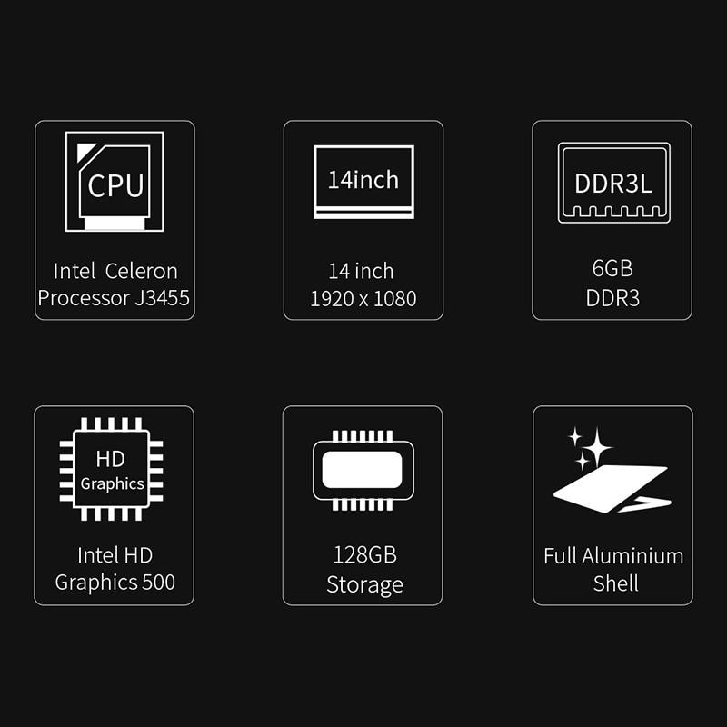 Cavalier Ezbook X4 ordinateur portable 14 pouces sans lunette Ips Ultrabook Intel Celeron J3455 6Gb Ram 128Gb Rom ordinateur portable 2.4G/5G Wifi avec Backli - 2