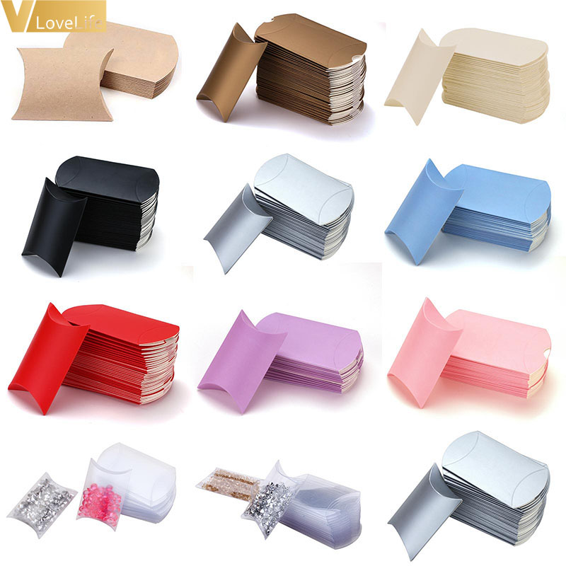 50/100pcs/lot Candy Box Pillow Shape Wholesales Gift Paper Packaging Boxes Candy Bags Christmas Box Wedding Party Xmas Supplies 1