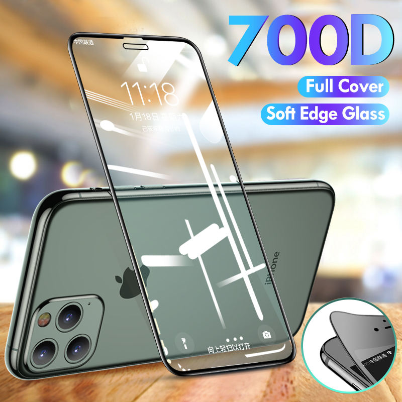 700D Curved Edge Protective Tempered Glass For IPhone 11 Pro X XS Max XR Screen Protector Glass On For IPhone 7 6 8 6s Plus X