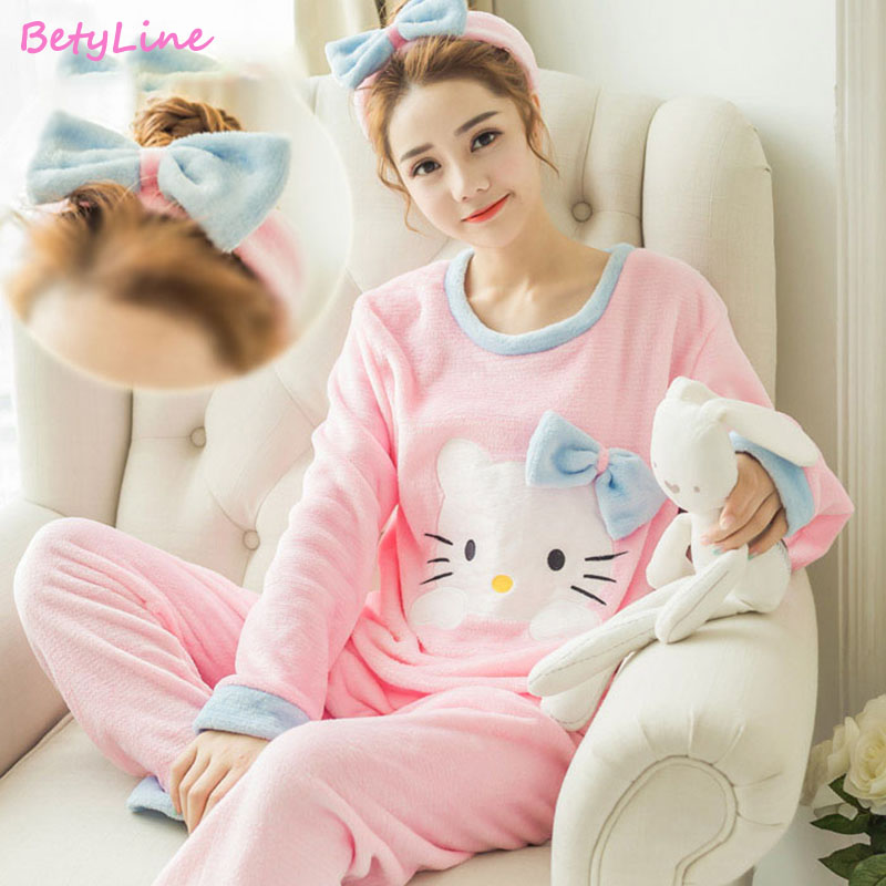 Betyline 2019 New Autumn Women Pajamas Sets  Sleepwear Warm Flannel Long Sleeves Pajamas  Cute Animal Homewear Thick Homewear