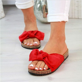 Summer Woman Bow Cork Slippers Beach Sandals Women Flat Soft  Bow Flip Flops Fashion Ladies Cute Outdoor Casual Shoes Plus Size 2020 woman flip flops summer shoes slippers cool beach rivets big bow flat sandals brand jelly shoes sandals girls big size 42