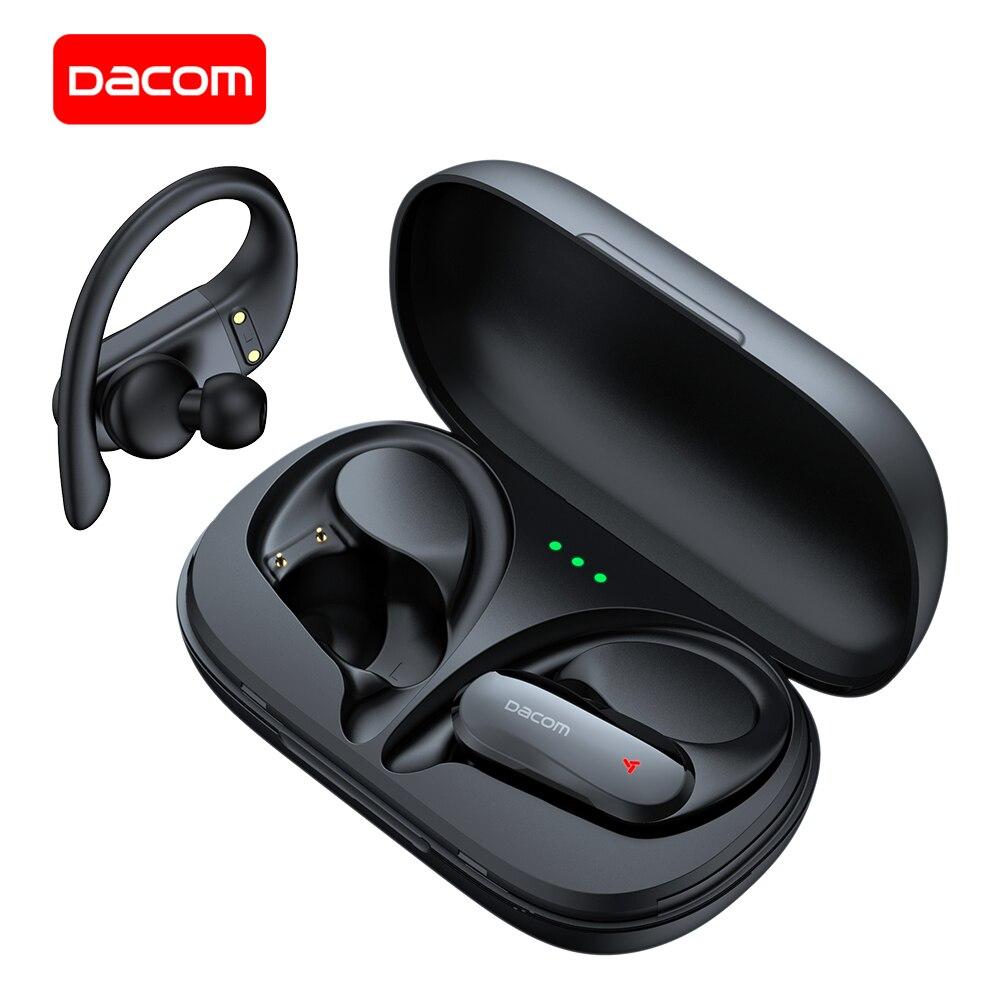 Dacom atleta tws pro fones de ouvido bluetooth baixo verdadeiro wirelss estéreo ipx5 esporte earhook para xiaomi iphone
