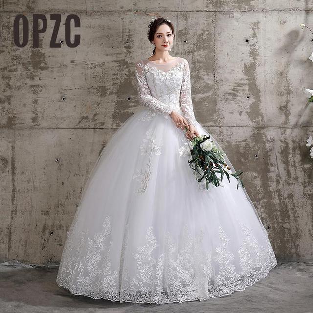 New Summer Korean Light wedding dress Vestidos De Novia off white bride O-neck dream princess simple Long Sleeve Lace appliques 1