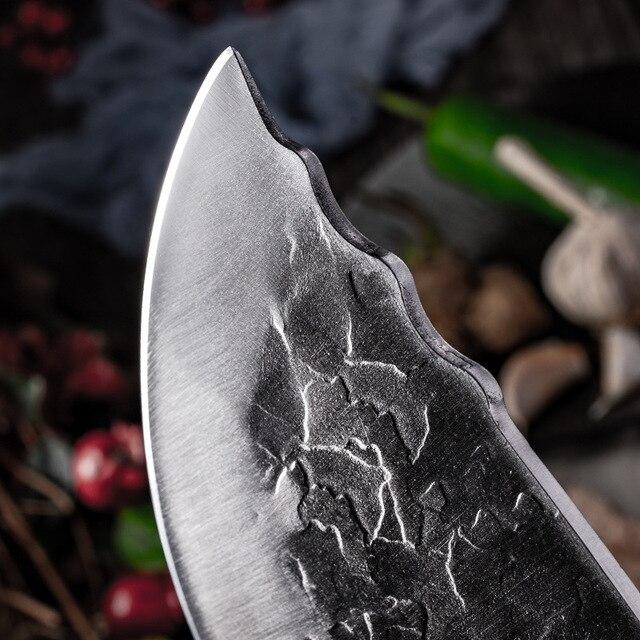 Cuchillo de cocina forjado hecho a mano de 7,6 pulgadas, carnicero, picar carne, Chef chino, acero inoxidable 5CR15 2