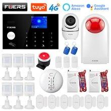 Fuers wifi 4g sistemas de alarme segurança em casa do assaltante sistema de alarme tuya app controle sirene detector movimento pir sensor fumaça