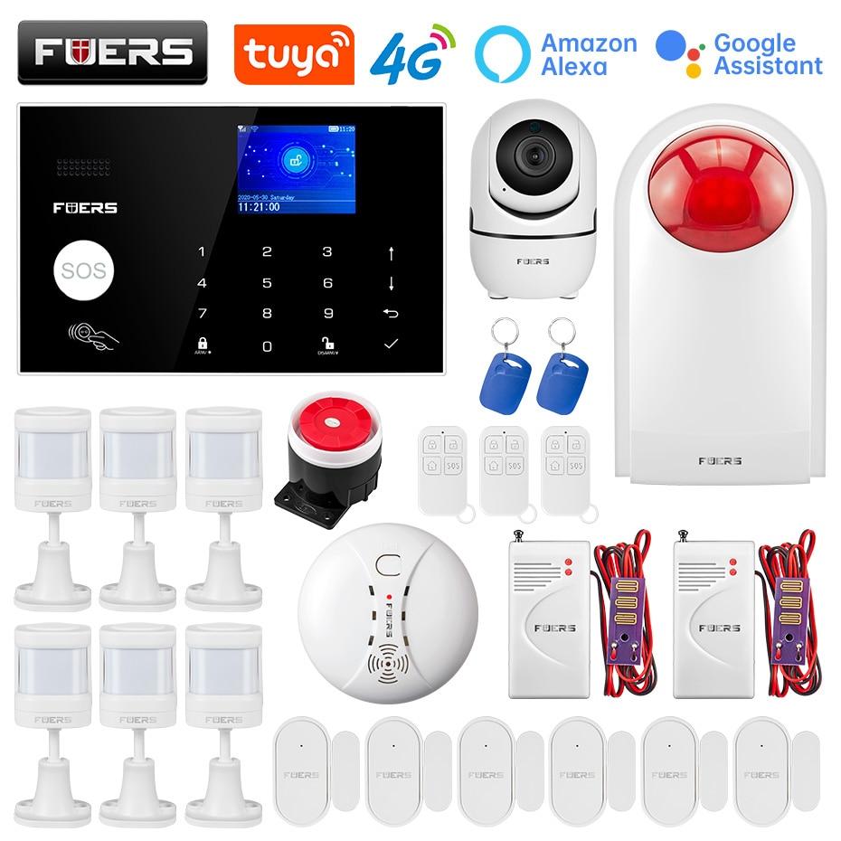 FUERS WIFI 4G Tuya Alarm Systems Smart Home Security Alarm System Kit Wireless Control Siren Motion Detector PIR Smoke Sensor