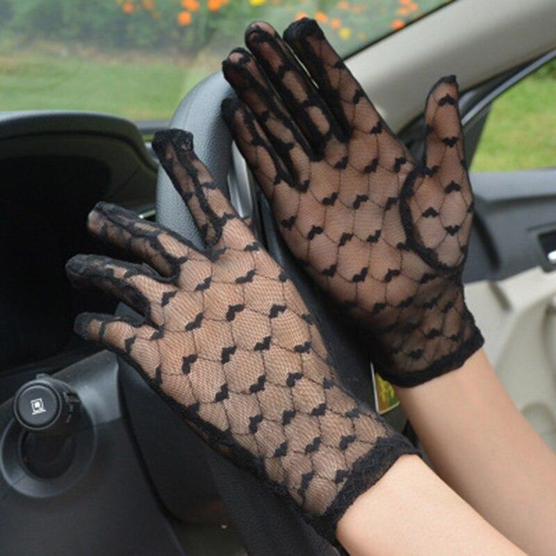 Elegant Women Ultra-thin Short Summer Driving Cycling Sexy Black Sunscreen Gloves Female Anti-UV Elasticity Lace Mesh Gloves K3