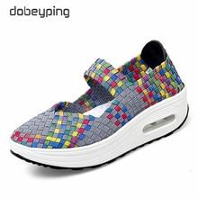 dobeyping 2020 Summer Flat Platform Sneakers Women Breathable Weaving Female Fla