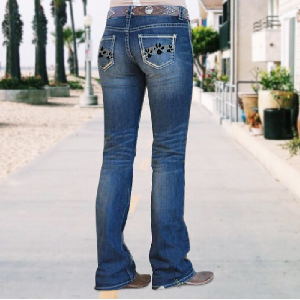 European and American style women's jeans hit color European and American style ladies jeans straight trousers