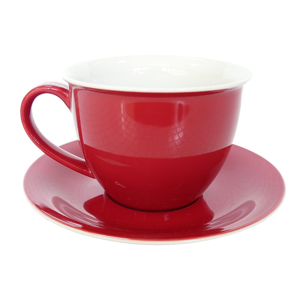 Tea pair red 450 ml Ceramic Tea Cup And Saucer Set Designer Bone China Coffee Cup Porcelain Afternoon Black Tea Cup Set