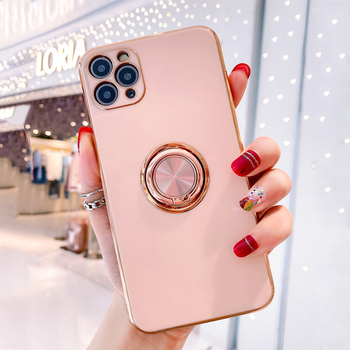 Luxury Plating Silicone Case For iPhone 12 11 Pro Max XS XR X 7 8 Plus iPhone12 iPhone11 Mini Soft Covers With Ring Holder Stand 1