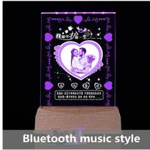 Crystal Internal Engraving Practical Photo Bluetooth LED Wooden Base Night Light MP3 Music Light Beautiful Girlfriend Gift