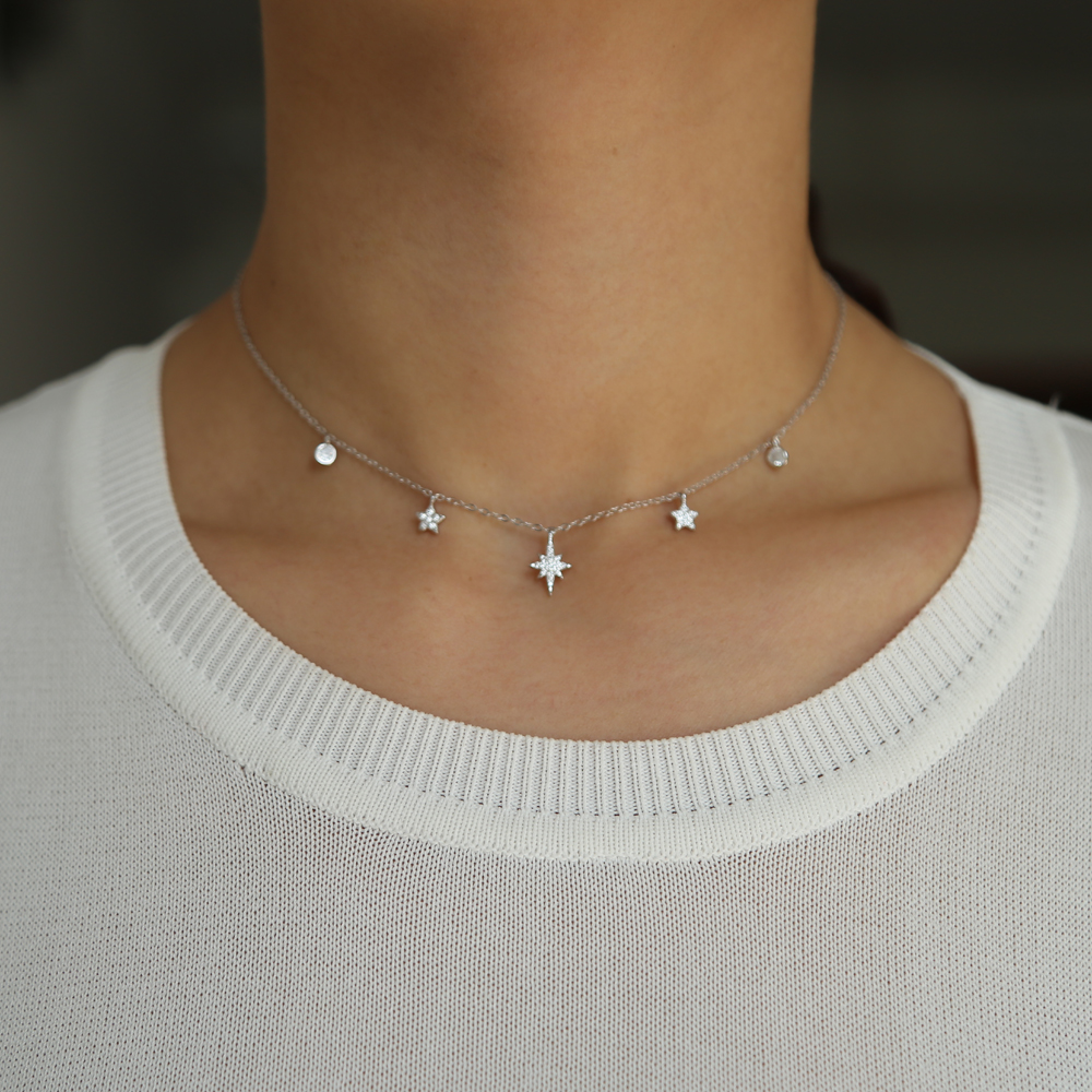 100% 925 sterling silver choker necklace 35+10cm for girls delicate mini cz star drip cz charm layer short necklace drop shippin