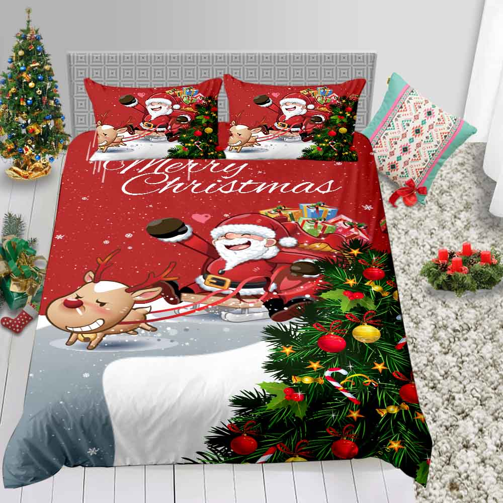 Thumbedding Kids Christmas Bedding Twin Classic Red Cute 3D Duvet Cover Set  Santa Series King Queen Full Double Bed Set