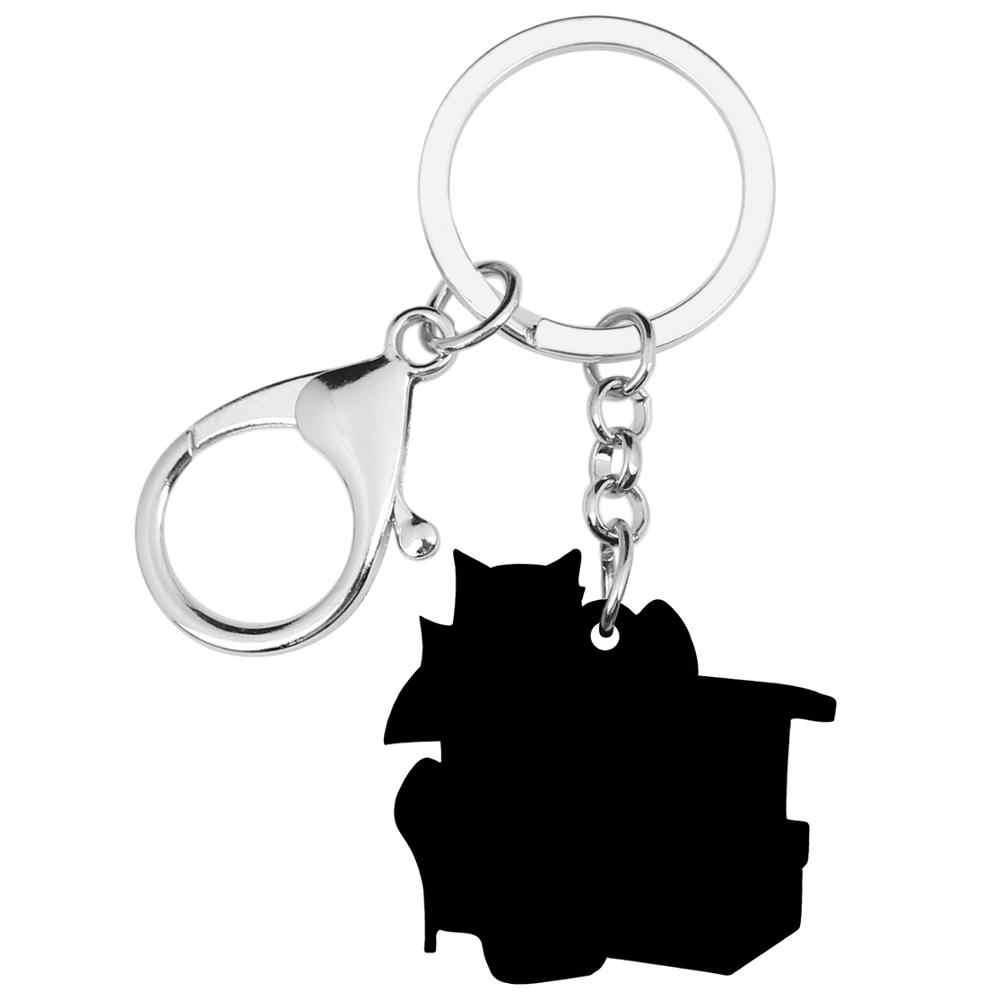 WEVENI อะคริลิควันวาเลนไทน์ของขวัญกล่องส้นสูง Cat Key Chains แหวนกระเป๋ารถกระเป๋าพวงกุญแจสำหรับหญิงสาววัยรุ่นของขวัญตกแต่ง