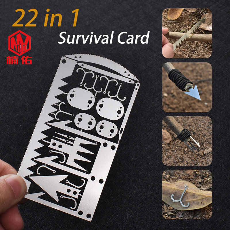 EDC Outdoor Camping Supplies Multifunctional Survival Tools Fishing Gear Fishing Hook Card Survival Tools First Aid Kit