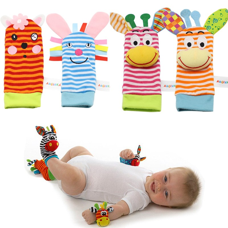 Детские носки-погремушки для младенцев, детские носки-погремушки с ремешком на запястье, милые Мультяшные игрушки с животными для детей 0-24 ...