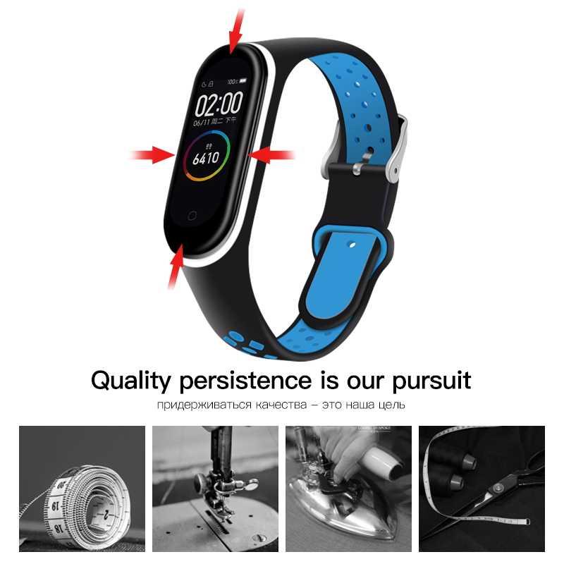 Ionct pulseira de silicone macio para xiao mi mi banda 4 cinta relógio de pulso pulseira esporte correa mi banda 3 cinta mi banda inteligente acessórios