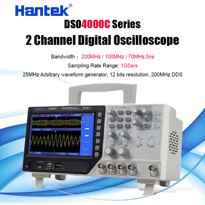 Hantek 2 Channel Digital Oscilloscope Arbitrary/Function Waveform Generator Synchronizing Signal 70-200MHz 1GS/s 4102C DSO4102C image