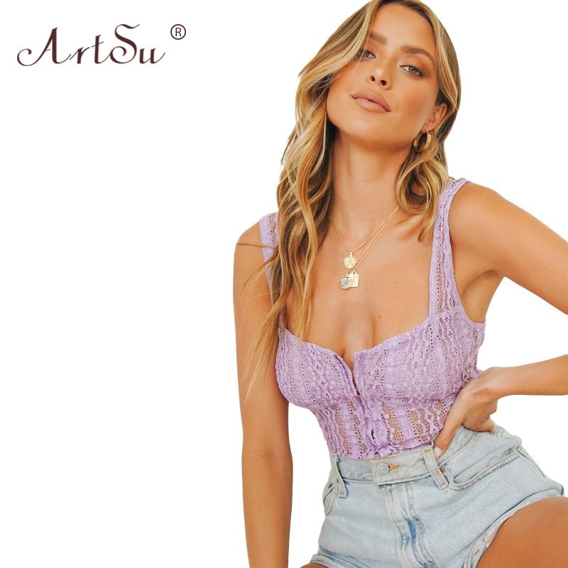 ArtSu Purple Sexy Hollow Out Mesh Lace Low Cut Sleeveless Crop Top 2020 Summer Women Fashion Tank Top Streetwear Party 2